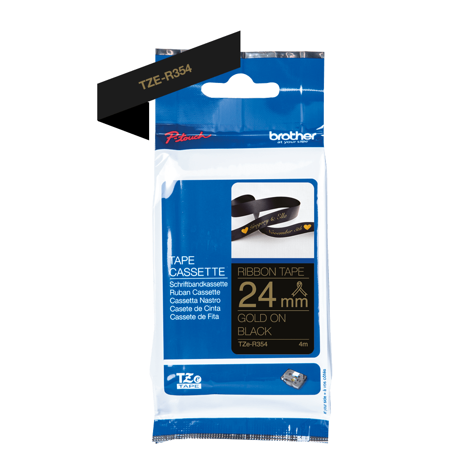 Originalt Brother TZeR354 silkebånd – gull på sort, 24 mm bred 2