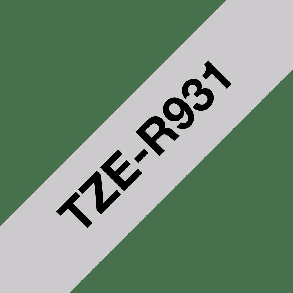 Originalt Brother TZeR931 silkebånd – sort på sølv, 12 mm bred