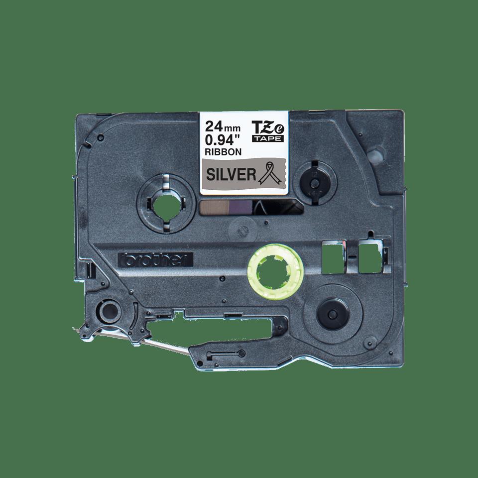 Originalt Brother TZeR951 silkebånd – sort på sølv, 24 mm bred 5