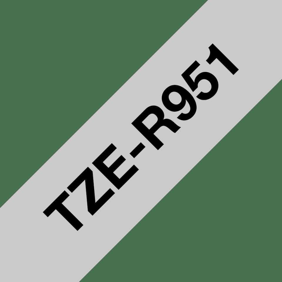 Originalt Brother TZeR951 silkebånd – sort på sølv, 24 mm bred 3