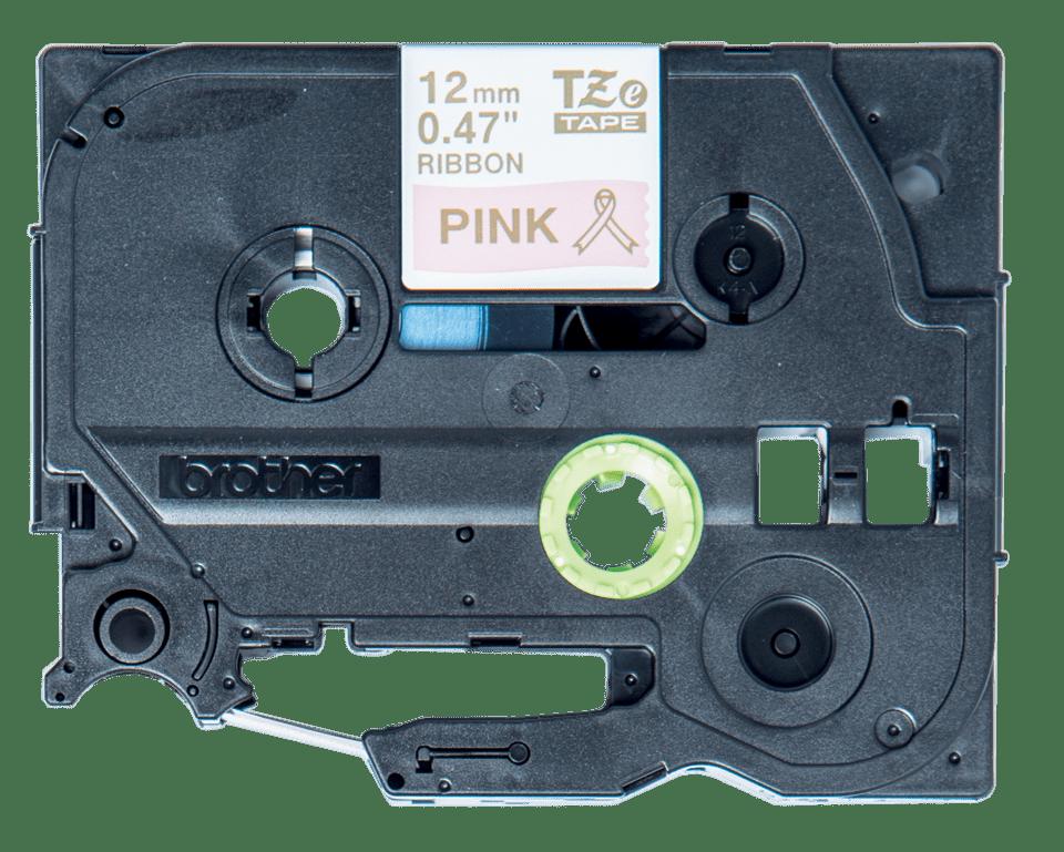 Original Brother TZeRE34 silkebånd – gull på rosa, 12mm bred 2