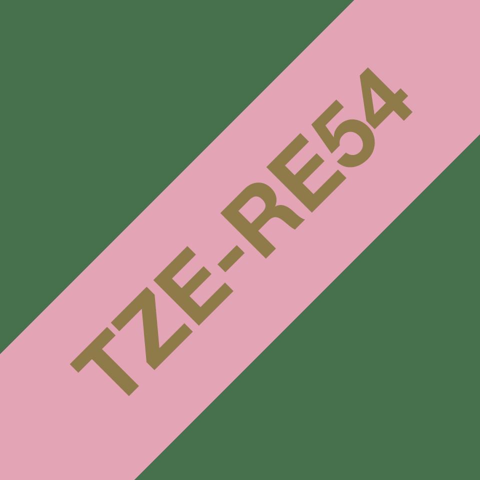 Originalt Brother TZeRE54 silkebånd – gull på rosa, 24 mm bred 3