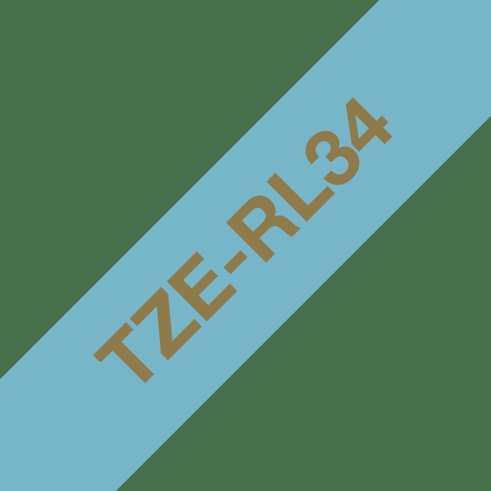 Originalt Brother TZeRL34 silkebånd – gull på lyseblått, 12 mm bred