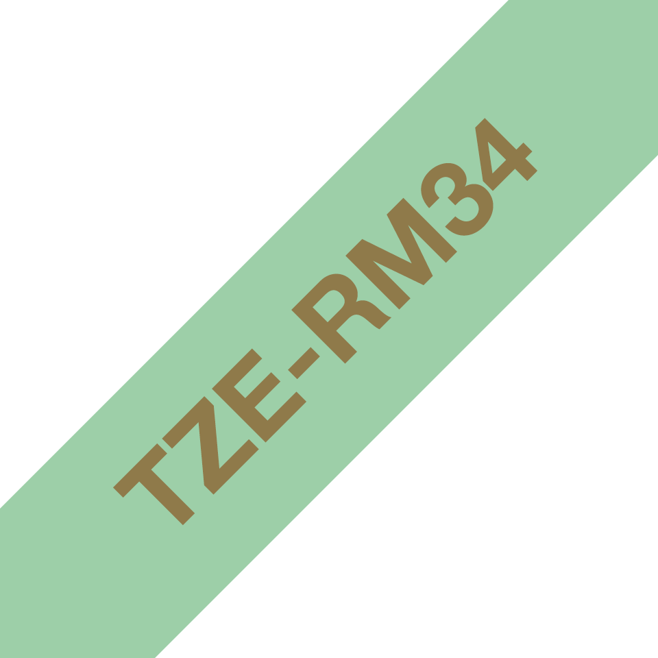 Originalt Brother TZeRM34 silkebånd – gull på mintgrønt, 12 mm bred