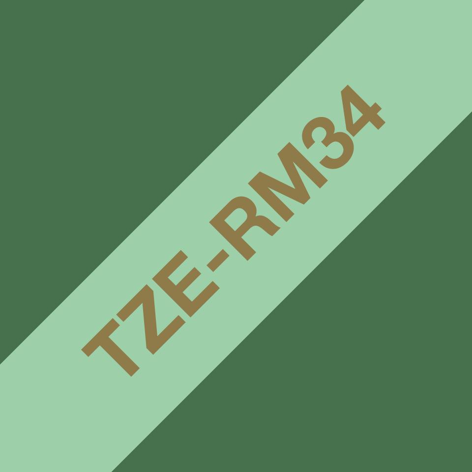 Originalt Brother TZeRM34 silkebånd – gull på mintgrønt, 12 mm bred 5