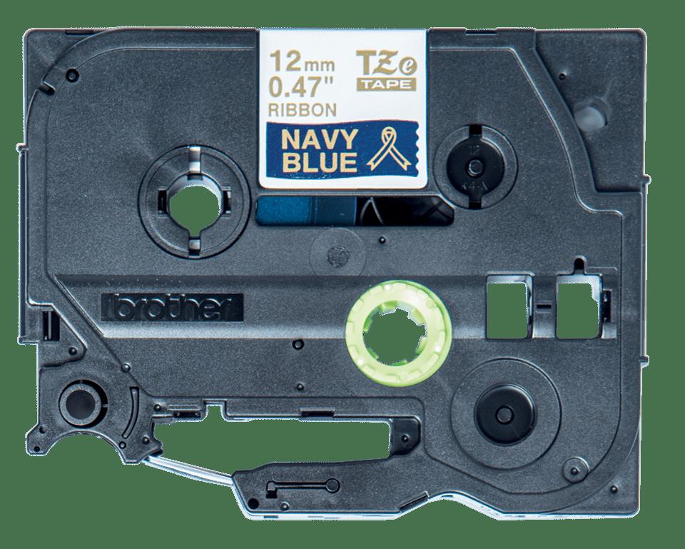 Brother original TZeRN34 silkebånd - gullskrift på marineblått, 12 mm bred 2