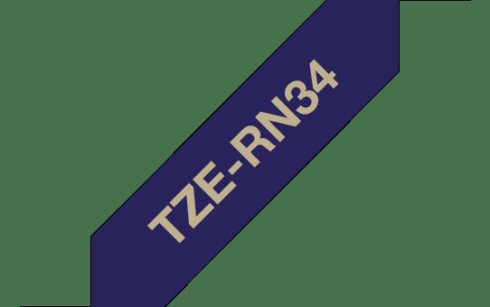 Brother original TZeRN34 silkebånd - gull på marineblått, 12 mm bred