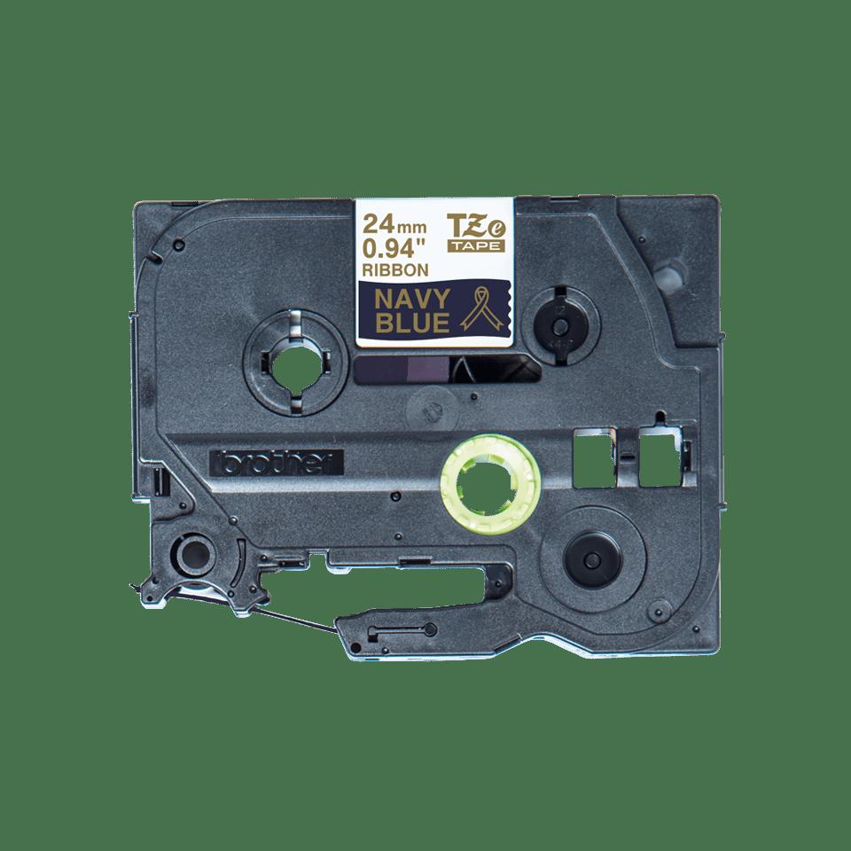 Originalt Brother TZeRN54 silkebånd – gull på marineblått, 24 mm bred 5