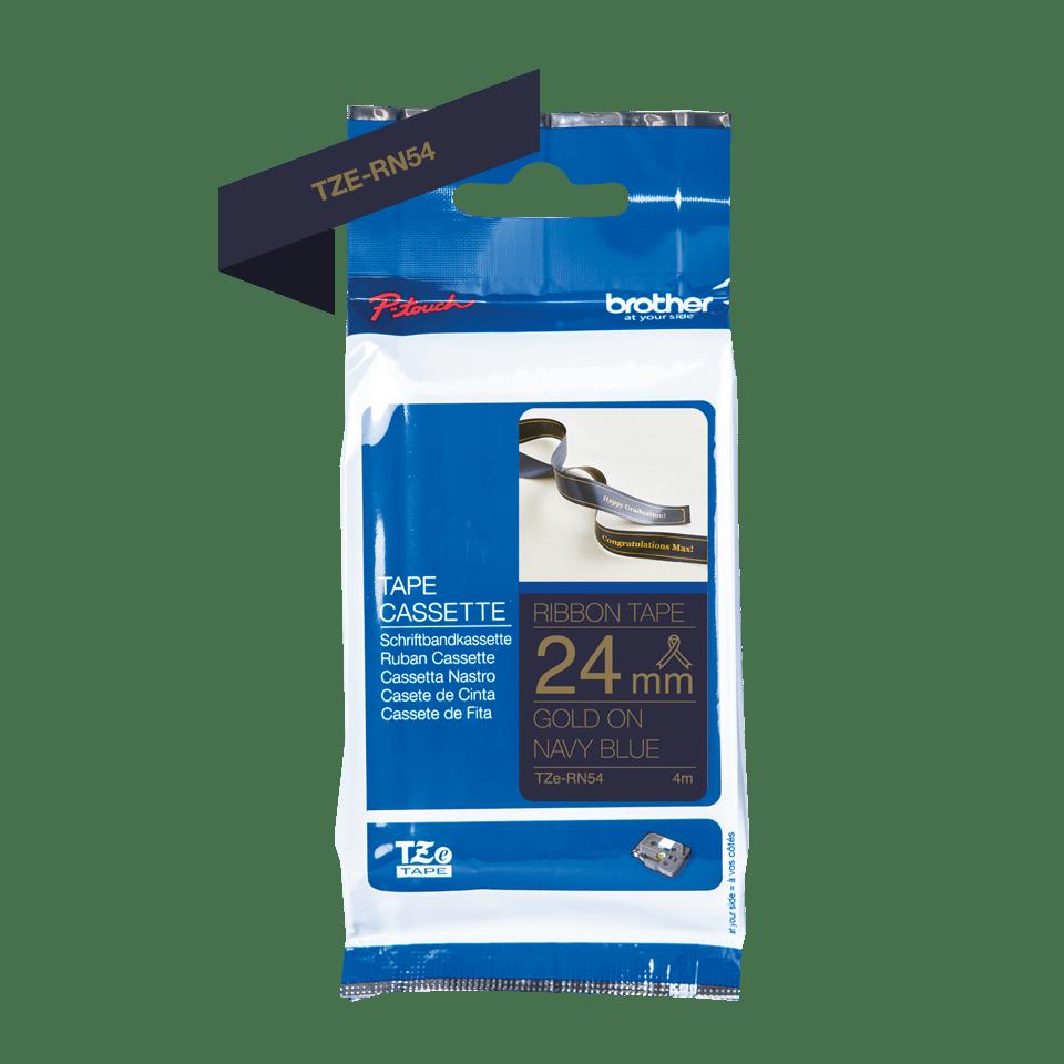 Originalt Brother TZeRN54 silkebånd – gull på marineblått, 24 mm bred 6