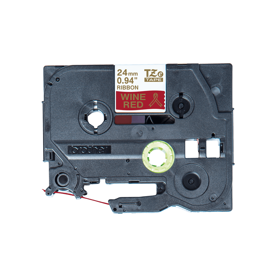 Originalt Brother TZeRW54 silkebånd – gull på vinrødt, 24 mm bred 4