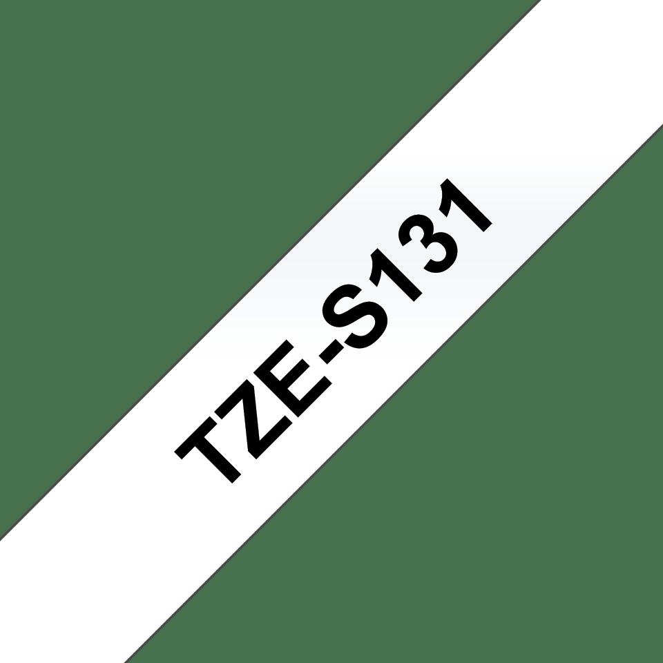 Original Brother TZeS131 merketape – sort på klar, med sterkt lim, 12 mm bred