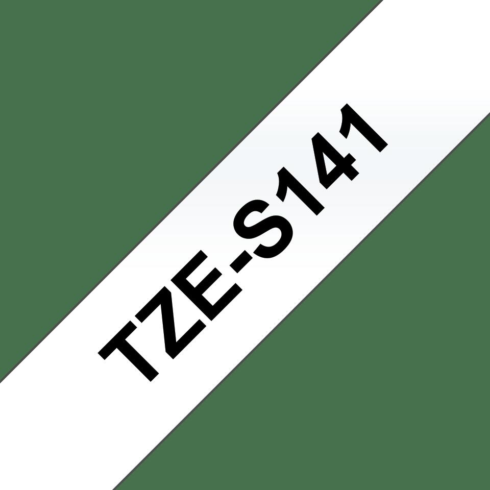 Original Brother TZeS141 merketape – sort på klar, med sterkt lim, 18 mm bred 3