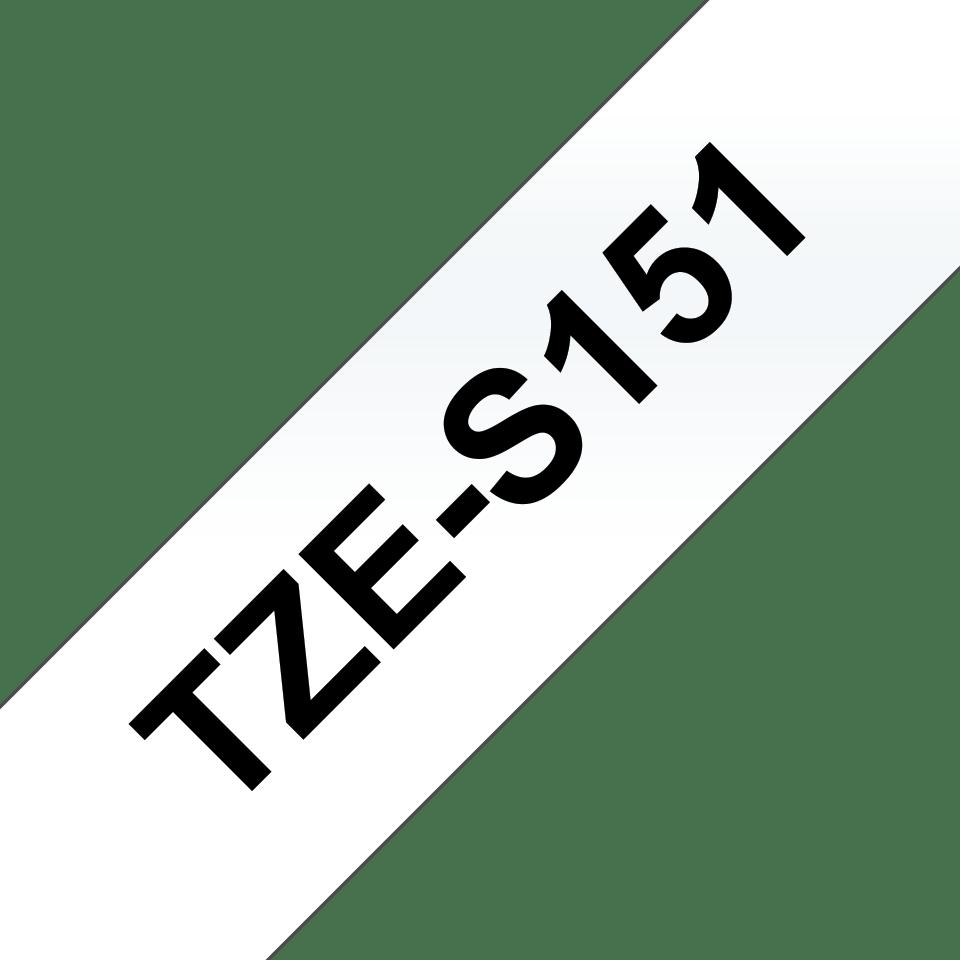 Original Brother TZES151 merketape – sort på klar, med sterkt lim, 24 mm bred