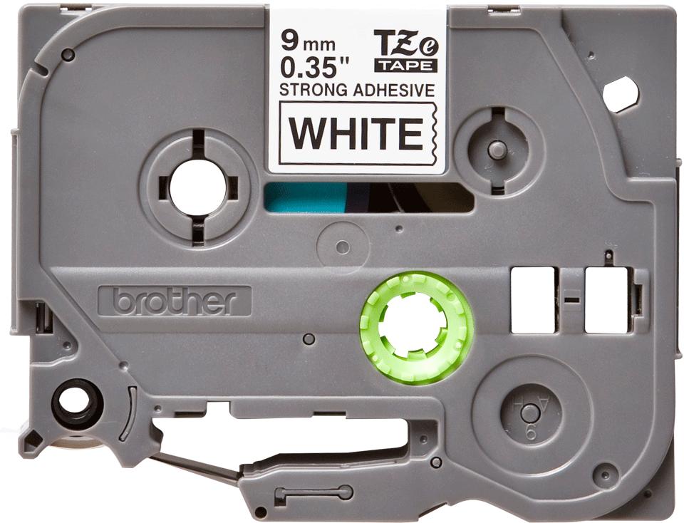 Original Brother TZeS221 merketape – sort på hvit med sterkt lim, 9 mm bred 2