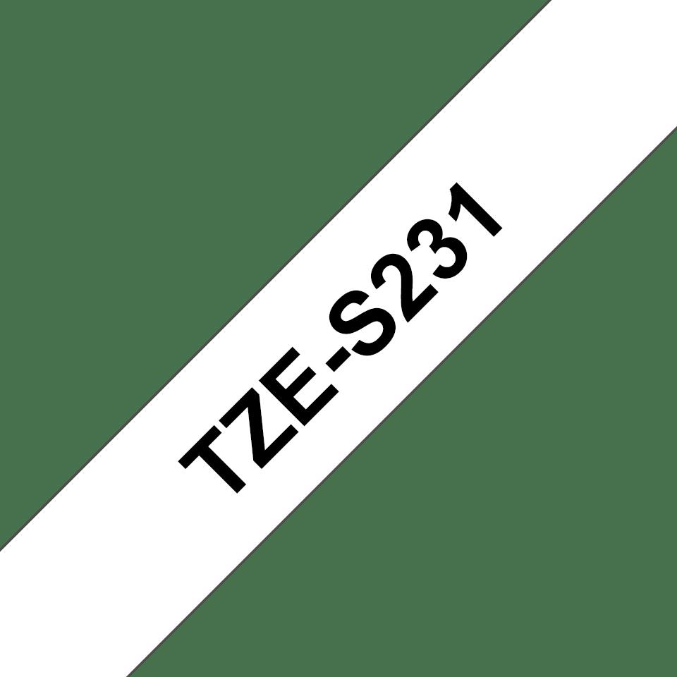 Original Brother TZeS231 merketape – sort på hvit med sterkt lim, 12 mm bred 3