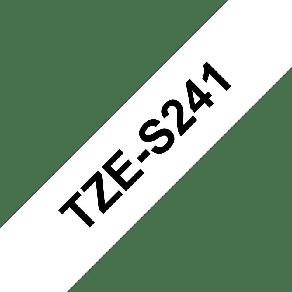 Original Brother TZeS241 merketape – sort på hvit med sterkt lim, 18 mm bred