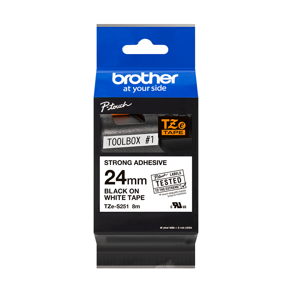 Original Brother TZeS251 merketape – sort på hvit med sterkt lim, 24 mm bred 3