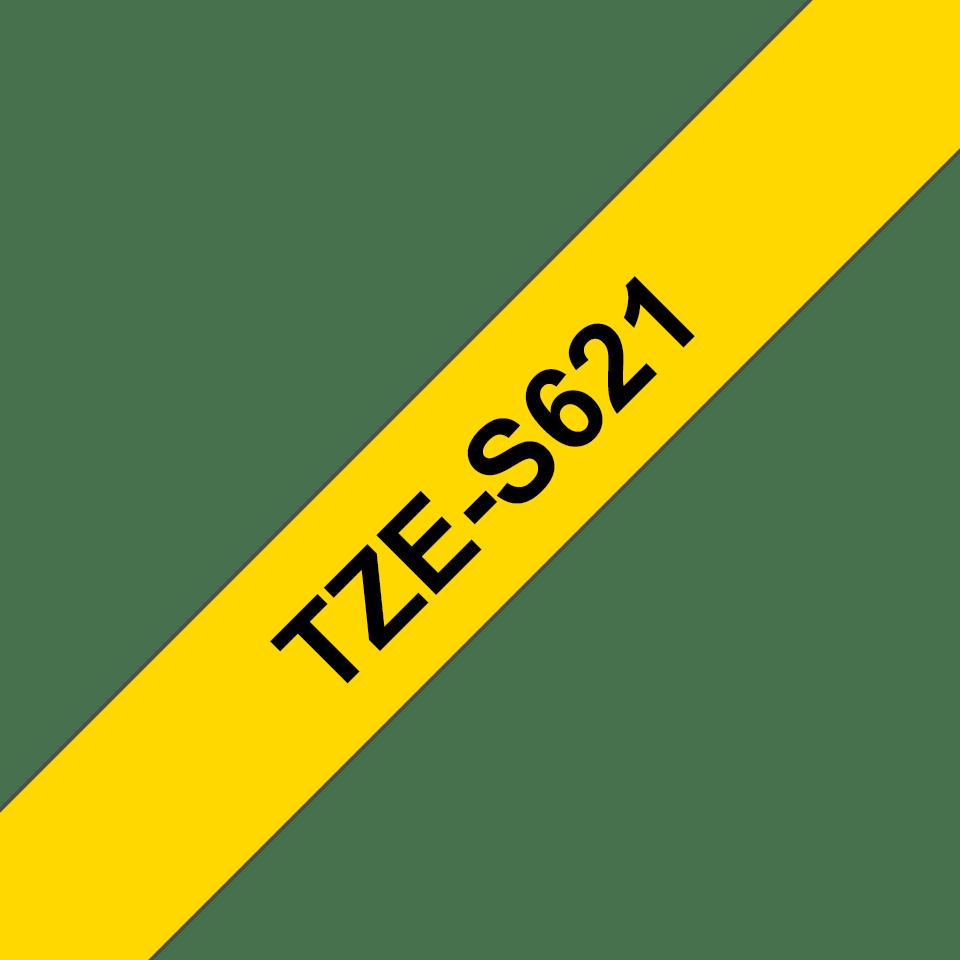 Original Brother TZeS621 merketape – sort på gul med sterkt lim, 9 mm bred 3