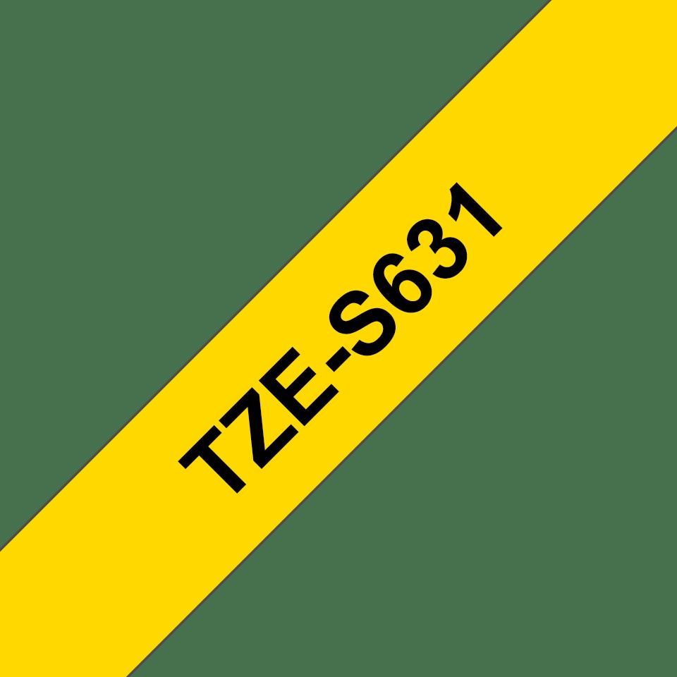 Original Brother TZeS631 merketape – sort på gul med sterkt lim, 12 mm bred